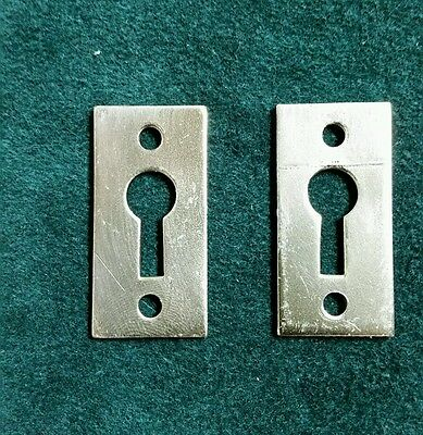 Vintage pair of heavy brass keyhole covers,escutcheons  restored