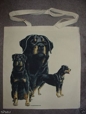Rottweiler Dogs On  A Tote Canvas Bag