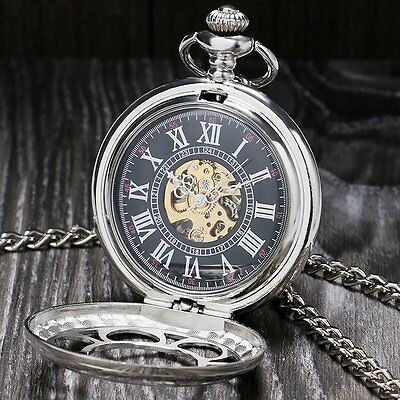 Retro Steampunk Skeleton Flower Mechanical Hand Wind Pocket Watch+Chain Girls