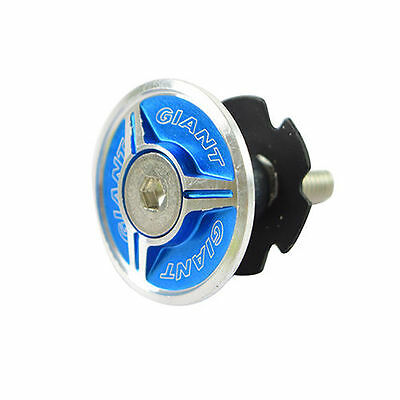 """1-1/8"""" Bike Bicycle Cycling Alloy Top Cap Headset + Star Washer - Silver x Blue"""