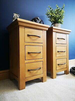 Matching Pair Modern Oak Bedside Tables - Small Slim Solid Wood Bedroom Cabinet