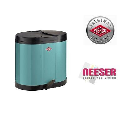 Wesco Original Double ECO bin 2x15L in Turquoise 170611-54 MADE IN GERMANY