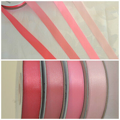 PINK double sided satin ribbon BULK 50m rolls crafts flowers cardmaking flowers