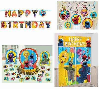 Sesame Street Elmo Birthday Pack (Banner,Wall Poster,Swirls & Table Decor Kit)