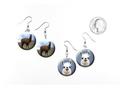 Llama South American Pack Animal Kuzco Tina 2 Pairs of Charm Earrings