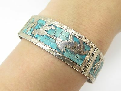 "GUAD Mexico 925 Sterling Silver Turquoise Inlay Folk Design Cuff Bracelet 7"" 24g"