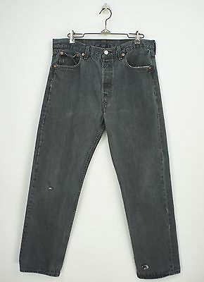VINTAGE FADED BLACK LEVI's 501 JEANS size 32 x 29 USA PERFECTLY DISTRESSED