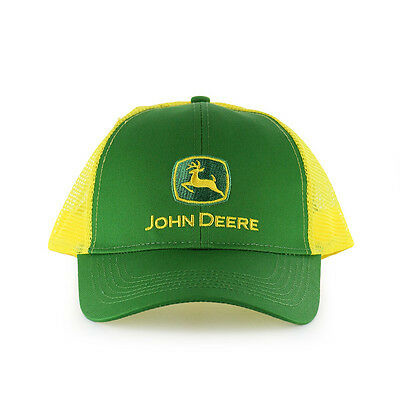 John Deere Mens Green Front Yellow Mesh back Classic Logo Cap Hat Adjustable