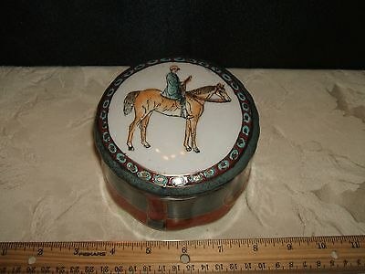 Porcelain Ceramic Painted Horse Man Trinket Box Racing With Lid Very Nice Fine