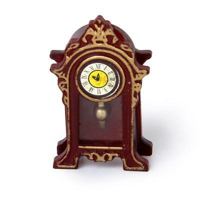 1:12 Vintage Miniature Wooden Classical Desk Clock for Dolls House Furniture