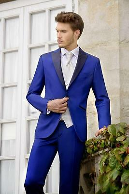 New Fashion Royal Blue Groom Tuxedos Groomsmen Best Man Business Wedding Suits