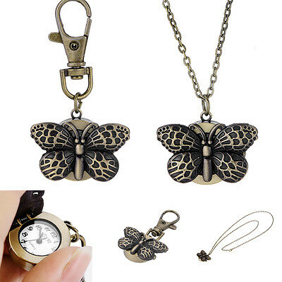 Bronze Vivid Butterfly Necklace Pendant Chain Pocket Watch Key Ring Watch 2016