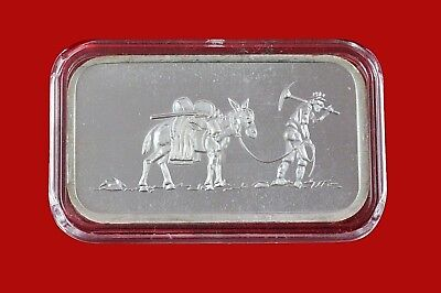 1 oz  SilverTowne Mint Mule & Prospector Rare Bullion Art Bar