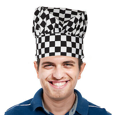 TRIXES Professional Kitchen Chef Hat Black & White Chequered