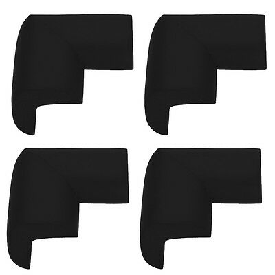 4 Safety L- Shape Foam Furniture Corner Protectors Black - By TRIXES