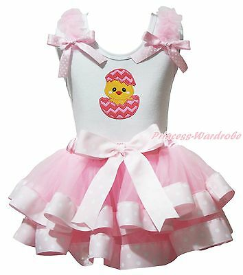 Easter Egg Chick White Cotton Top Pink Dot Satin Trim Skirt Girls Outfit NB-8Y