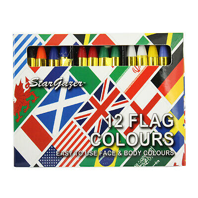 Body & Face Paint Sticks By Stargazer Set Of 12 Stage Make Up Fancy Dress Flags