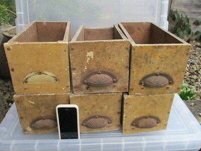 Vintage Wooden Drawer Iron Cup Handle Racks Display Shelve Shelf Antique £14each