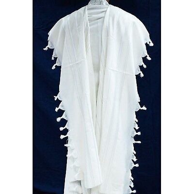 TRADITIONAL WOOL TALLIT WITH GOLD & WHITE STRIPES - Jewish Prayer Shawl SIZE 50
