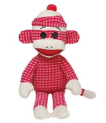 Ty Beanie Buddies 16'' Plush PINK Quilted SOCK MONKEY ~NEW~