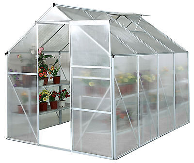 Charles Bentley 8Ft X 6Ft Large Polycarbonate Aluminium Frame Greenhouse -Silver