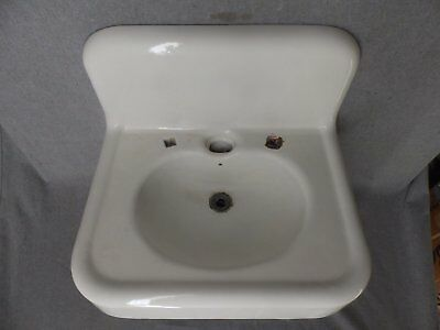 Antique Cast Iron White Porcelain Sink Vtg Bathroom Lavatory Plumbing 353-16