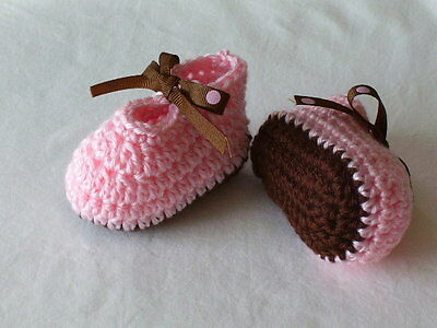 0-3 Months Hand Crocheted Baby Girl Booties Pink and Brown Mary Joe Style