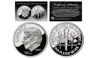 First-Ever RONALD REAGAN Tribute .999 Fine Silver Plated Commemorative Dime