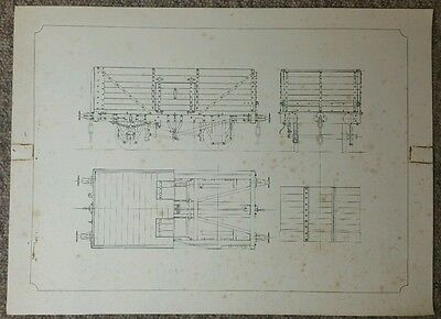 Vintage Cross Section Technical Drawing, Timber Bodied Open Top Wagon, 42 x 31cm