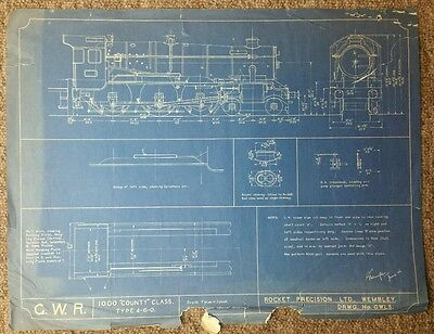 GWR 1000 County Class Technical blueprint 7mm to 1ft, by Rocket Precision 48cm