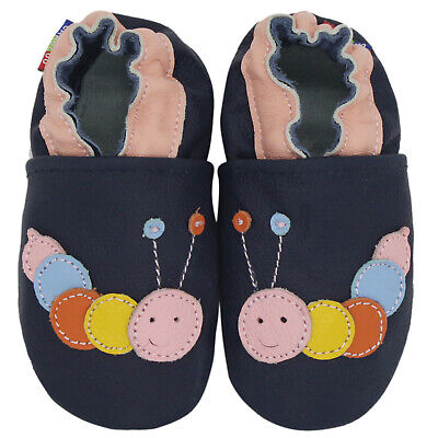 carozoo caterpillar dark blue 18-24m soft sole leather baby shoes
