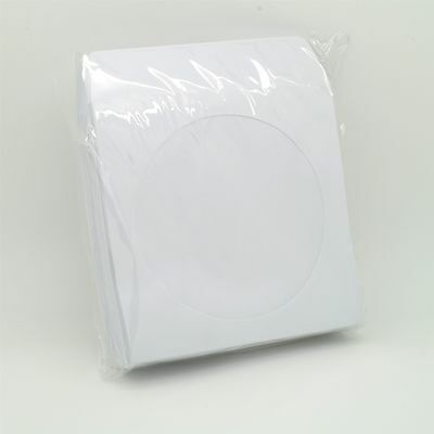 100 CD Sleeves DVD CD-R Paper Sleeve with Window Flap White
