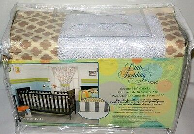 Little Bedding by NoJo Critter Pals Animal Print Secure-Me Mesh Crib Liner, Tan