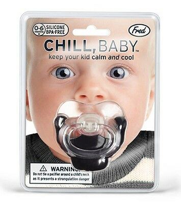 Fred & Friends CHILL, BABY! GOATEE MUSTACHE Silicone BPA Free Pacifier ~NEW~
