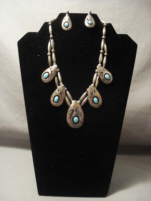 Very Old Vintage Navajo Silver Turquoise Necklace