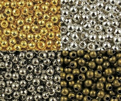 Wholesale lot Metal Round Spacer Beads Jewelry Craft DIY 2mm 3mm 4mm 5mm 6mm New