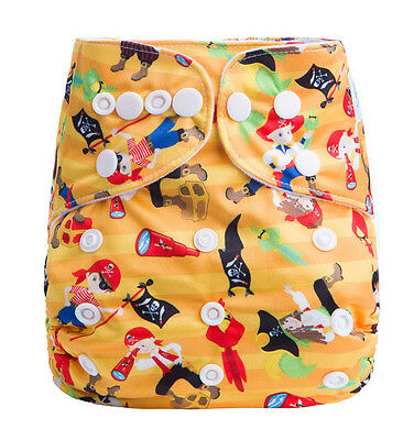 Reusable Baby Infant Nappy Modern Cloth Diapers and Insert, Pirates