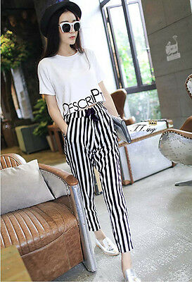 Korean summer fashion T-shirt + black white striped pants with short sleeves