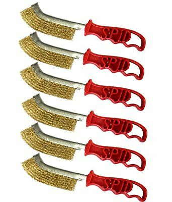 (PACK OF 6) Genuine SIT SPID Wire Brush Brass coated Steel , rust removing clean