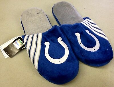 Pair of Indianapolis Colts Logo Slippers NEW Team Stripe House shoes!