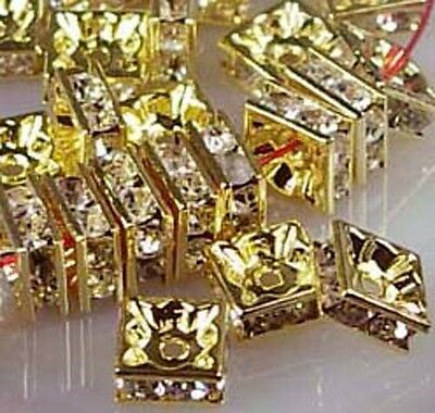 25 Golden Rhinestone Square Rondelle Beads 5mm , A Grade