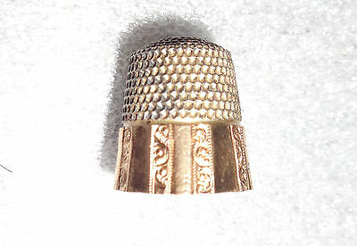 fine antique sterling silver thimble gold plated rim