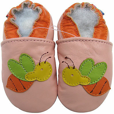 carozoo bee pink 2-3y soft sole leather toddler girl shoes slippers
