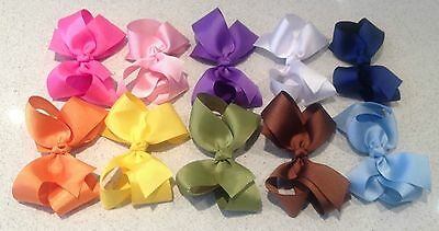 5 inches Hair Bows Boutique Girls Baby Toddler Alligator Clip Grosgrain Ribbon