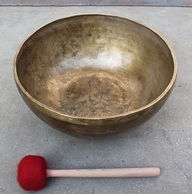 Green Tara CARVING and ETCHING HAND HAMMERED 34 CM Large SINGING BOWLS