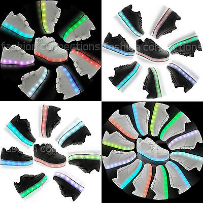 New Girls Boys Children Usb Charged Led Lights Lace Up Trainers Sneakers  Size