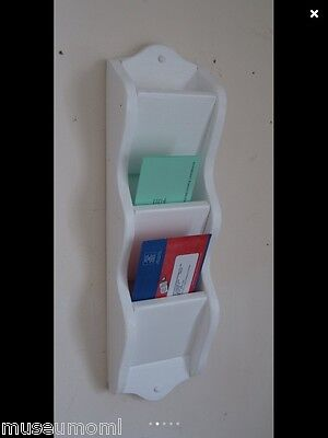 Mail Letter Rack Handcrafted Wood Organizer Holder WALL, Optional Key Hooks