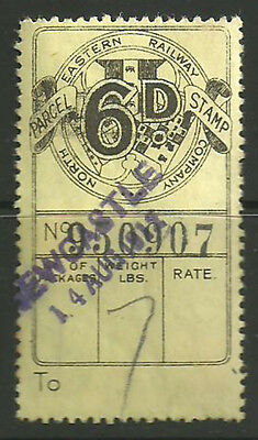 6D North Eastern Railway Parcel Stamp Cancelled Newcastle 1912 In Violet