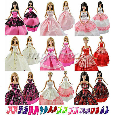 15 Items 5Pcs Wedding Fashion Gown Dresses & Clothes 10 Shoes For Barbie Doll UK