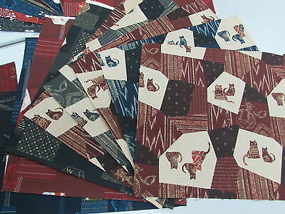 PRE-CUT 30 pieces (9.5 X 9.8) ASIAN JAPANESE ORIENTAL QUILT FABRIC DIY # 9